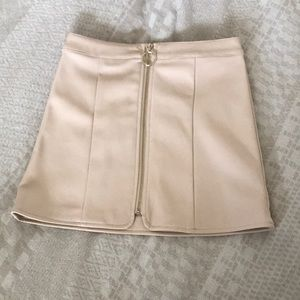 SOLD Faux leather Cream/Soft pink skirt